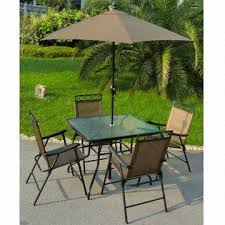 Patio Table And Umbrella 6 Patio Set Includes Deluxe Folding Chairs 32x38 Inch