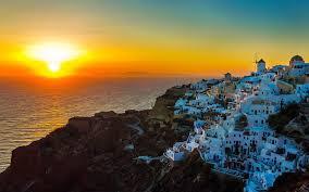 santorini island sunset view in aegean sea beautiful places wallpaper