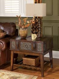 Ashley Furniture Living Room Tables by Mckenna Dark Brown T753 Storage Cocktail Table And 2 End Tables