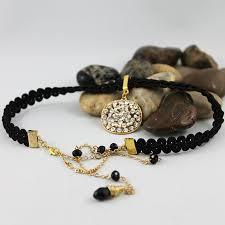 elegant choker necklace images Black long beaded back drop choker necklace elegant wedding jewelry jpg
