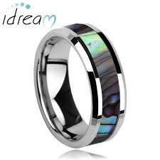 unique matching wedding bands of pearl inlay tungsten wedding band unique tungsten