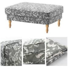Floral Ottoman New Ikea Stocksund Gray Floral Ottoman Footstool Slipcover Cover