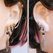 connecting earrings black and silver feather connecting chain earrings by