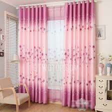 Purple Bedroom Curtains Decorative Pink Purple Polyester Floral Pattern Girls Bedroom Curtains