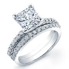 princess cut wedding set classic u shape setting side stones princess cut wedding sets