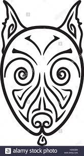 terrier tattoo american pit bull terrier dog head stylized hand drawing maori
