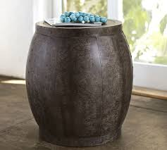 Drum Side Table Marlow Metal Drum Accent Side Table Aged Patina Pottery Barn For