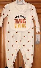 baby s thanksgiving turkey pajamas bib sizes 3 month