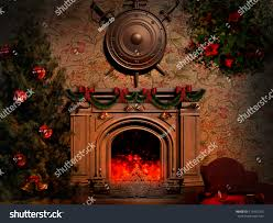 shield swords over fireplace stock illustration 115462105
