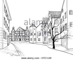 street cafe old city view european cityscape house building