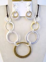 bracelet earring jewelry necklace images Two tone hammered circles necklace bracelet earrings jewelry set jpg