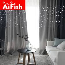 Navy And Grey Curtains Korean Hollow Thick Shade Curtain For The Living Room Navy