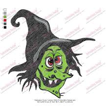 halloween scary cartoon witch embroidery design