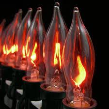 set of 10 flickering amber flame c7 halloween lights black wire