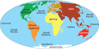 map of the map with continents and oceans identified