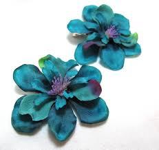 Flower Clips For Hair - of teal blue green hair flower clips
