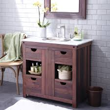 divine design ideas using rectangular brown mirrors and cool decorating ideas using rectangular brown wooden vanity cabinets and silver single hole faucets also with
