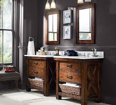 pottery barn bathroom ideas benchwright single sink console rustic mahogany finish pottery