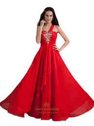 flowy red one shoulder sweetheart neckline prom dresses with