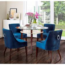 Kitchen Chairs Furniture Tov Furniture Dover Blue Velvet Dining Chair W Silver Ring On