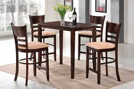 dining room rectangle brown polished iron dining table and 4 bar