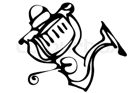 black and white vector sketch of fast response fishing reels