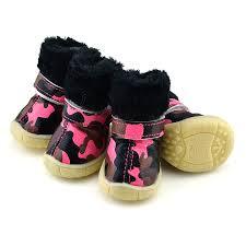 Camo Dog Bed Camo Pu Leather Dog Shoes Winter Dog Boots Pink Petsoo Com