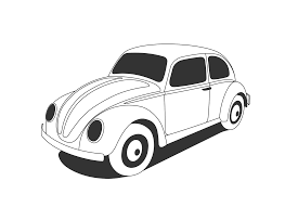 vw beetle classic black white line art coloring sheet colouring