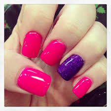 pink gel nails with purple rockstar accent my nails