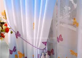 retro curtain idea of polyestercotton blend print butterfly blue