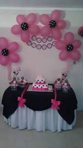 Pink And Black Minnie Mouse Decorations Diy Baby Shower Ideas For Girls Flower Balloons Minnie Mouse