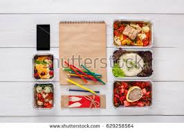 healthy restaurant food delivery diet plan stock photo 539758993
