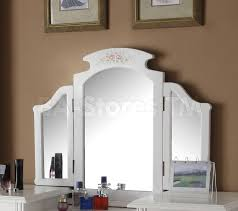 Vanity Table With Tri Fold Mirror Sale 822 00 Torian White Vanity Set With Tri Fold Mirror