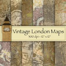 Paper Maps Digital Paper U2013 Vintage London Maps U2013 12 Backgrounds