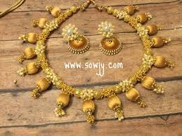 gold color necklace images Silk thread choker necklace in gold with silk thread jhumkas