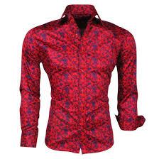 design hemd montazinni talliert hemd mit blau paisley design rot