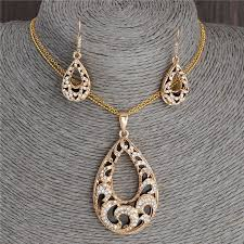 earring chain necklace images Minhin personality vintage women jewelry set double gold color jpg