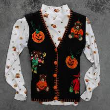 vintage ugly halloween sweater vest u0026 turtleneck matching