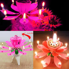 lotus birthday candle musical spinning rotating lotus flower cake topper party birthday