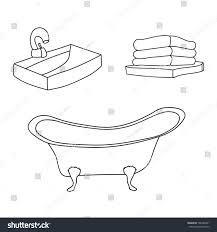 bathroom interior set vintage bath tube stock vector 706389481