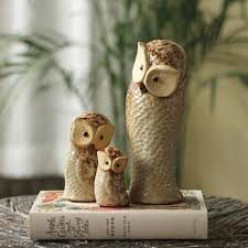 Animal Figurines Home Decor by 3 Ceramic Owl Statue Bird Figurines Owls Ornaments Home Garden