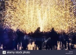 winter park christmas lights people walking in winter park decorated with christmas lights stock