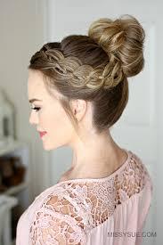 hair bun four strand braid high bun sue