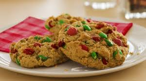 chocolate peanut butter oat christmas cookies recipe
