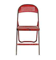 Metal Outdoor Chairs Vintage Charming Red Perforated Metal Folding Chair C1940s Rejuvenation