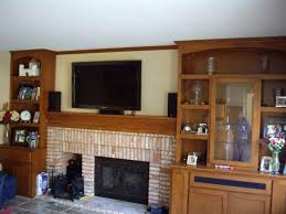 Light Oak Bookcases Fireplace Cheerful Fireplace With Shelving For Living Decoration