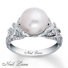 pearl and diamond engagement rings neil designs cultured pearl ring 14k white gold