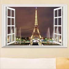 Eiffel Tower Garden Decor 3d Window Paris Eiffel Tower Wall Stickers Art Vinyl Decal Mural