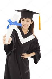 college graduation gown woman college graduate wearing cap and gown holding diplom
