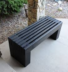 Outdoor Wood Storage Bench Plans by Outdoor Wood Bench Plans Modern Slat Top Outdoor Wood Bench